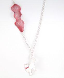 Zincir Kedili Kolye (Kırmızı)