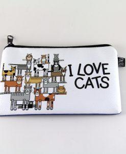 I Love Cats Kedili Makyaj Çantası