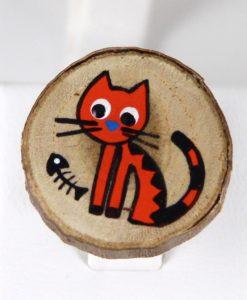 Kılçıklı Kedili El Boyaması Ahşap Yüzük