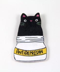 Antidepresan Kedili El Boyaması Ahşap Magnet