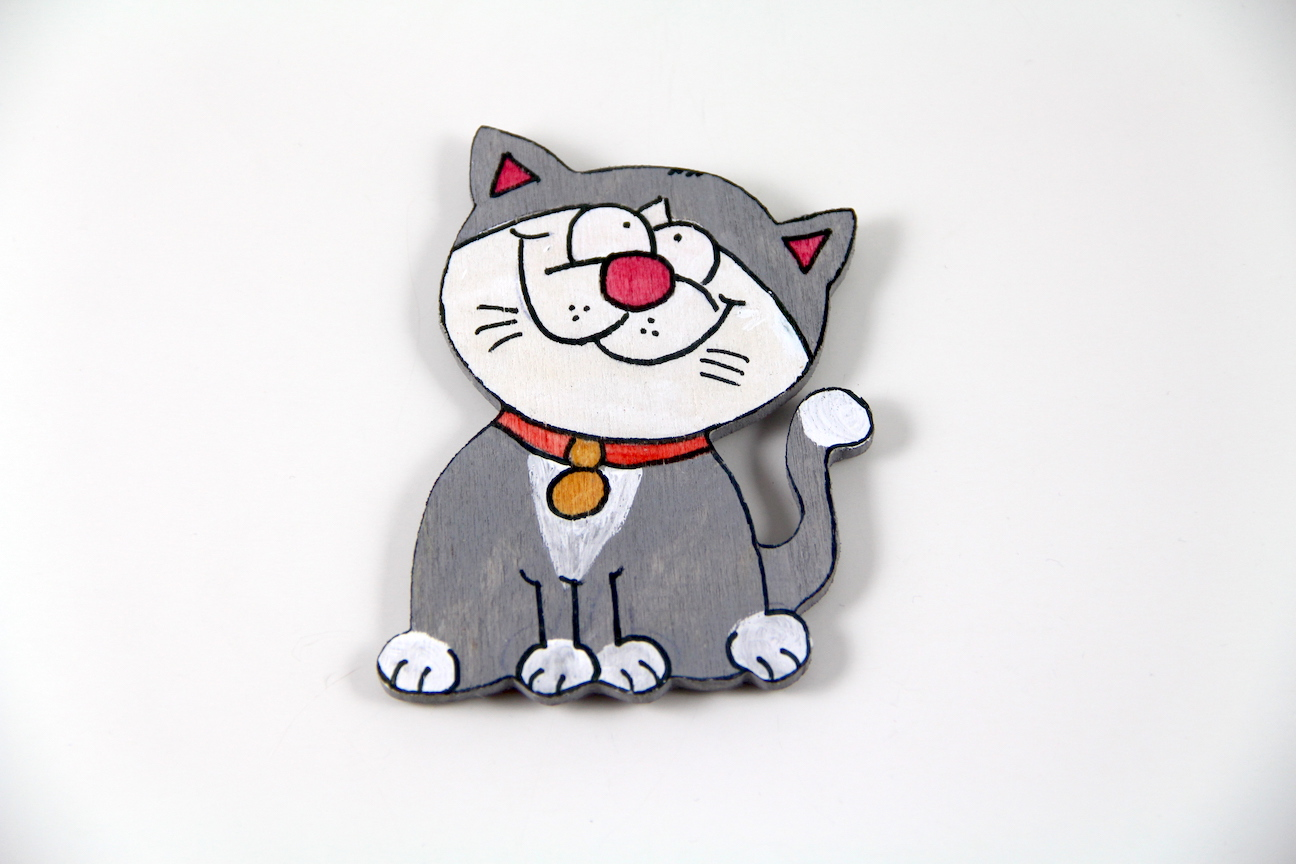 Masum Kedili El Boyaması Ahşap Magnet