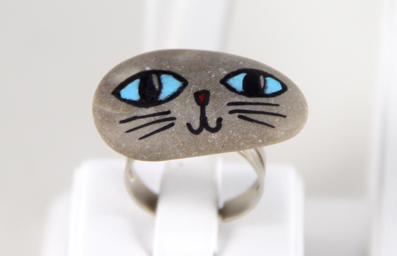 Mavi Gözlü Kedili Taş Yüzük