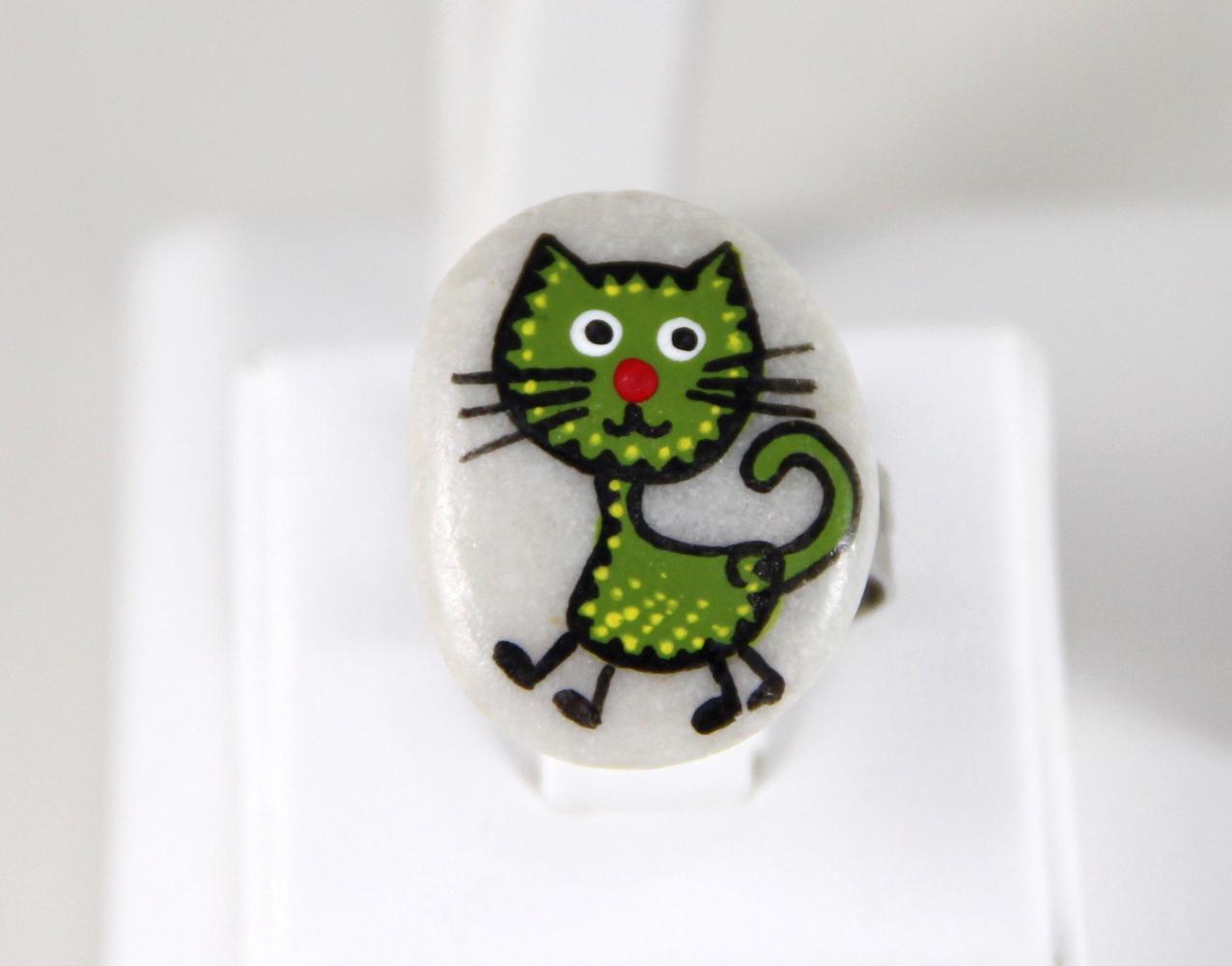 Yeşil Kedili Doğal Taş Yüzük