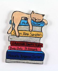Kitap Üstünde Uyuyan Kedili El Boyaması Ahşap Magnet