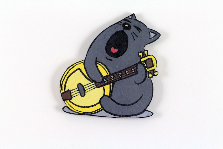 Serenat Yapan Kedili El Boyaması Ahşap Magnet