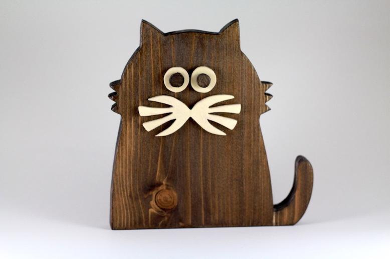 Bıyıklı Kedi Ahşap Biblo