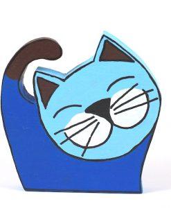 Gülümseyen Mavi Kedi Ahşap Biblo