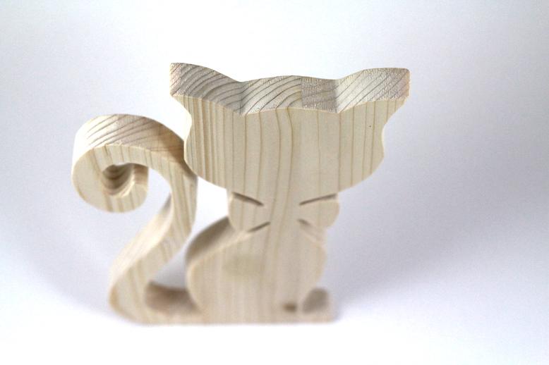 Papyonlu Kedi Ahşap Biblo