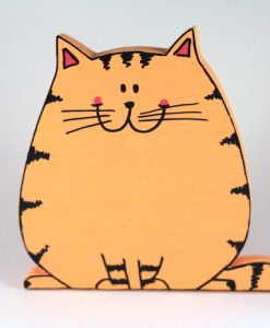 Tombul Kedi Ahşap Biblo