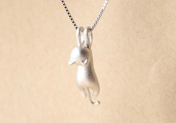 Yaramaz Küçük Kedili Gümüş Kaplama Kolye